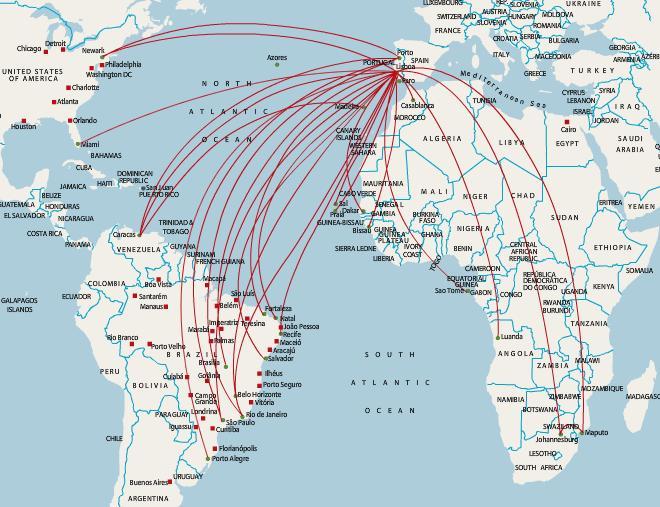 mapa rotas tap A Tap Portugal mapa de rota   Toque em Portugal destinos mapa (Sul  mapa rotas tap