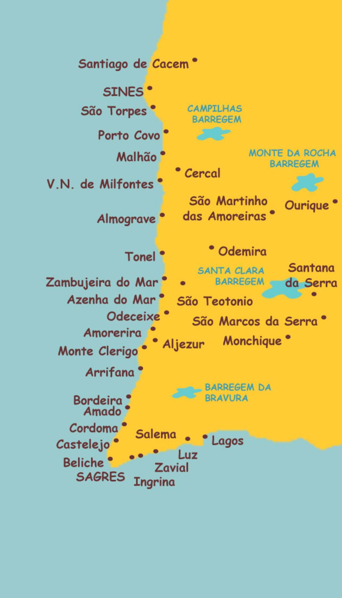 mapa de prais de portugal Portugal praias mapa   Mapa de Portugal praias do Sul da Europa  mapa de prais de portugal