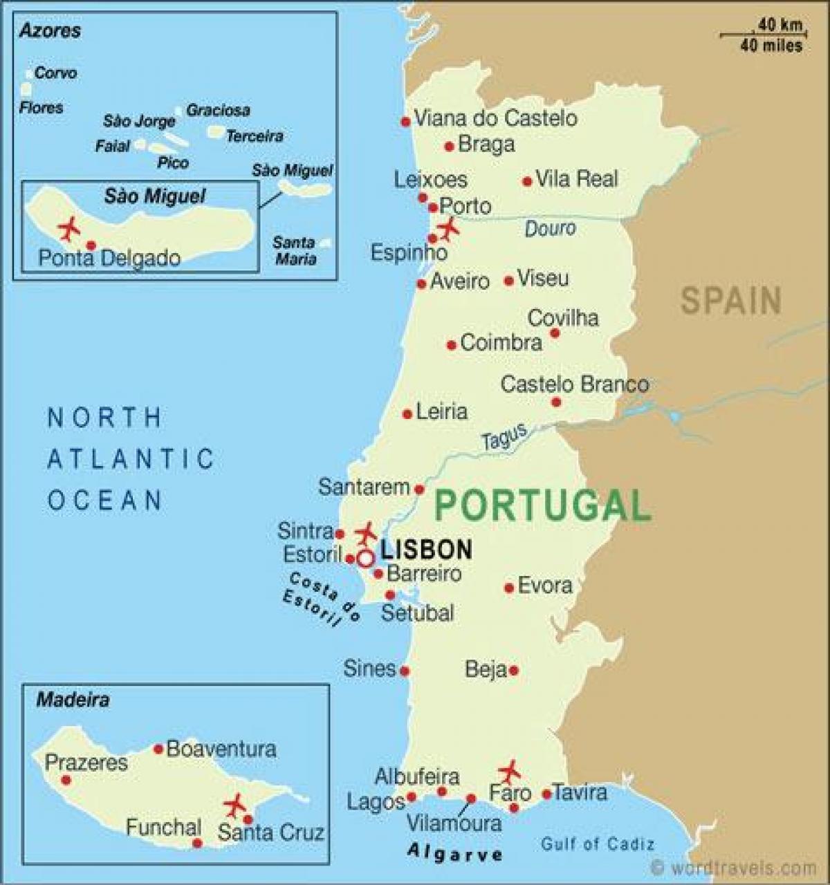 mapa aeroportos portugal Aeroportos em Portugal mapa   Mapa dos aeroportos de Portugal  mapa aeroportos portugal