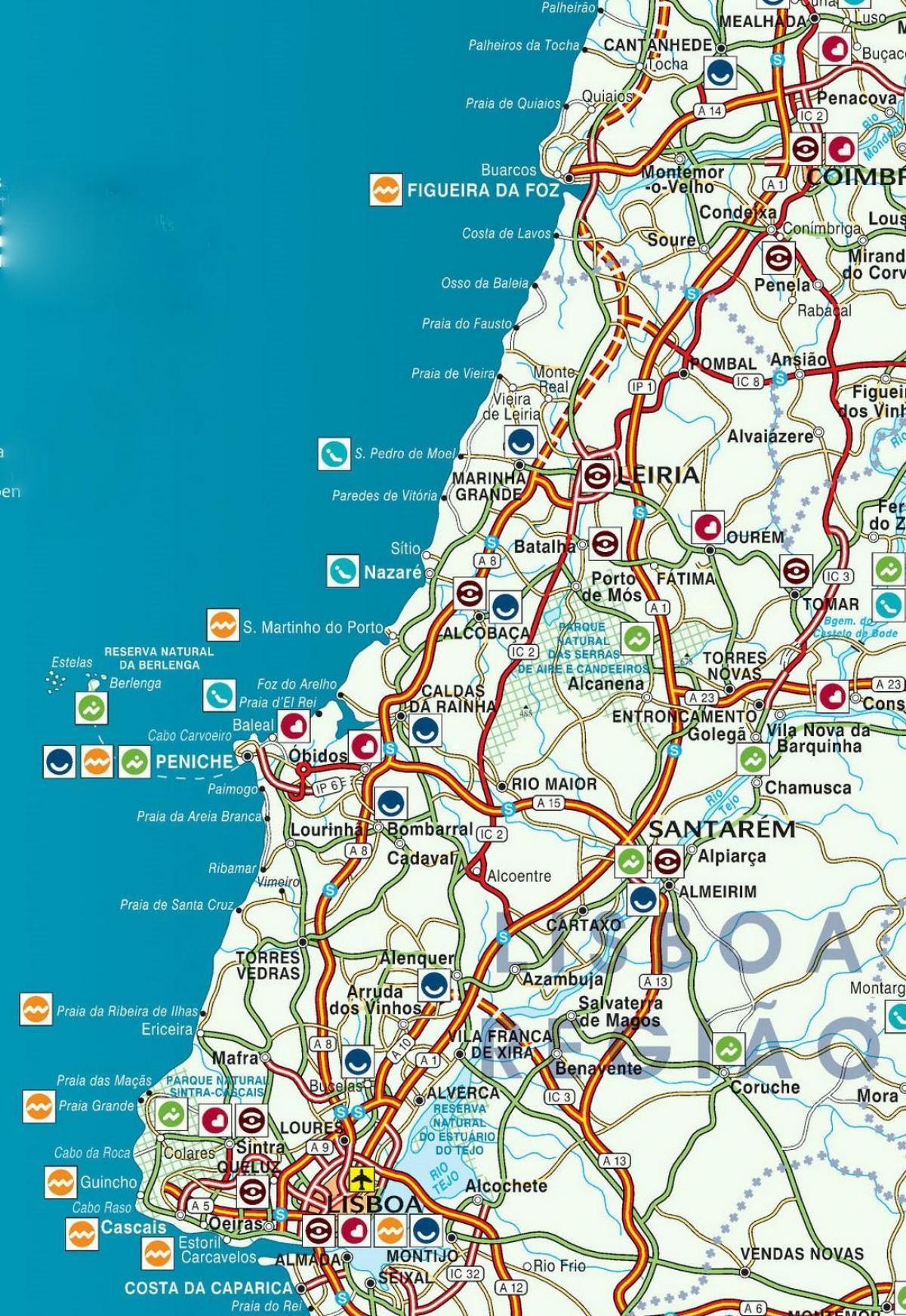 mapa da costa de prata portugal Costa de prata de Portugal mapa   Mapa de Portugal, costa de Prata  mapa da costa de prata portugal
