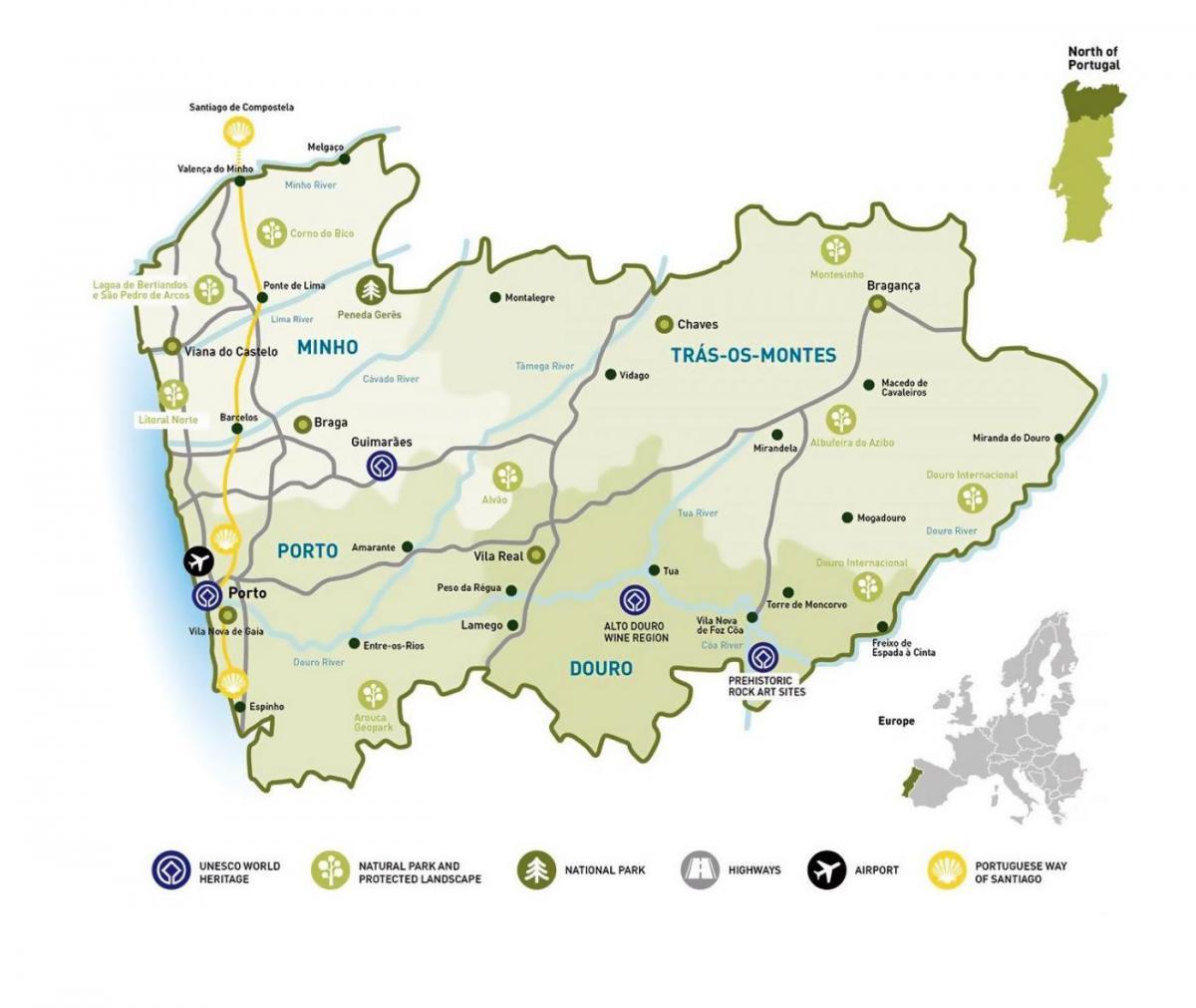 Região Norte Mapa De Portugal Norte.Mapa Regiao Norte De Portugal Mapa