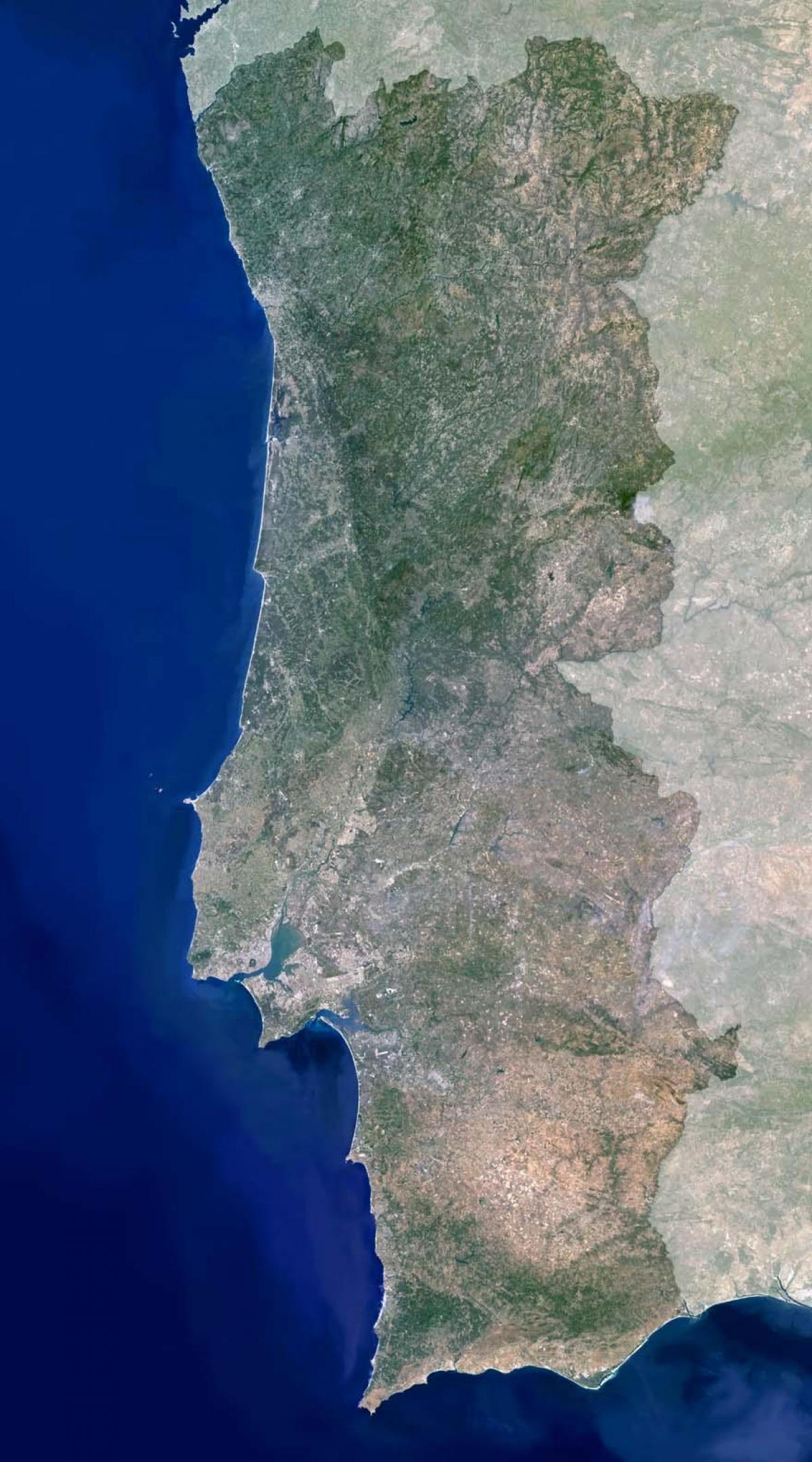 mapa de satelite de portugal Portugal, mapa de satélite   Mapa de Portugal por satélite (Sul da  mapa de satelite de portugal