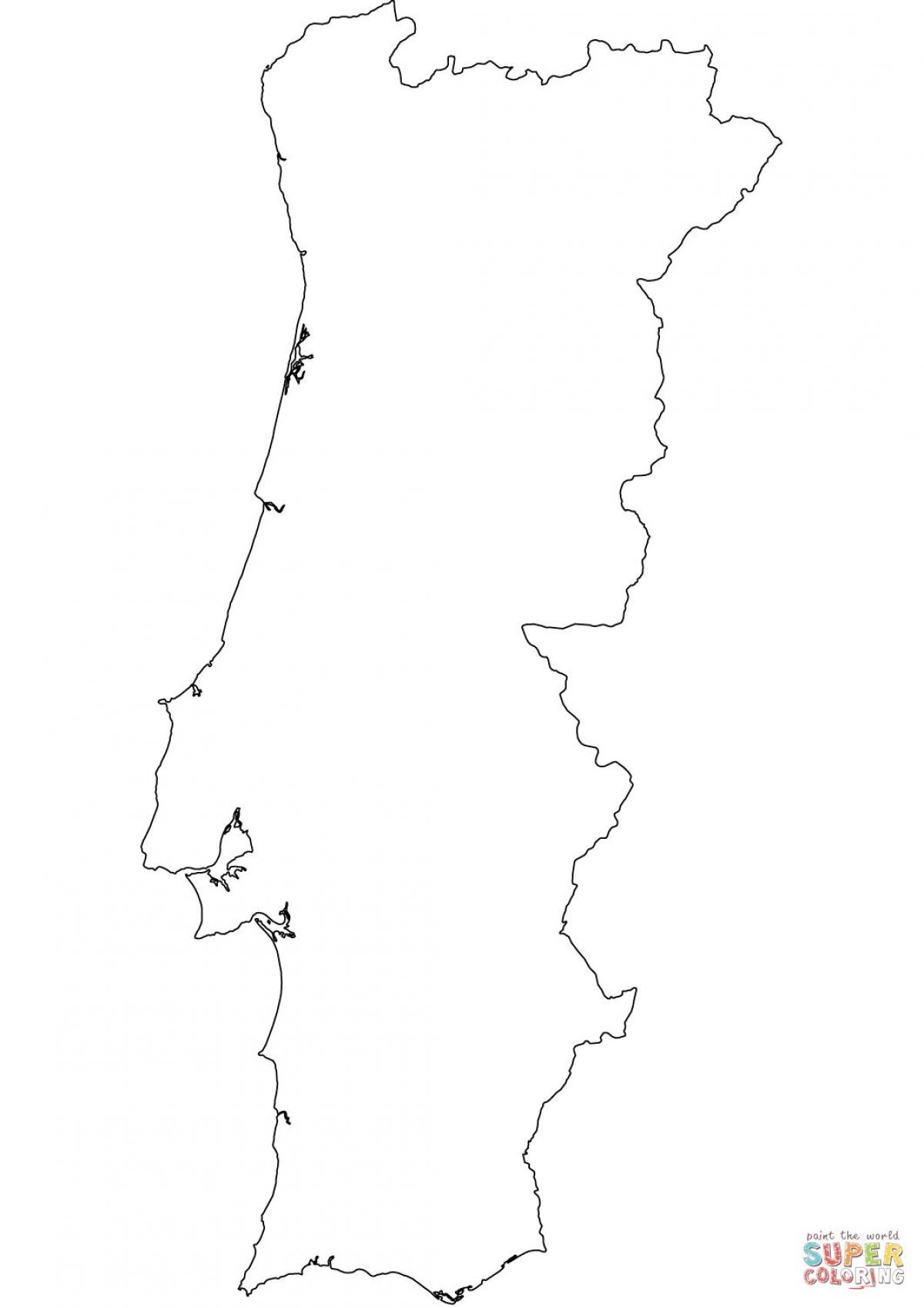 mapa de portugal branco Portugal mapa em branco em Branco, o mapa de Portugal (Europa do  mapa de portugal branco