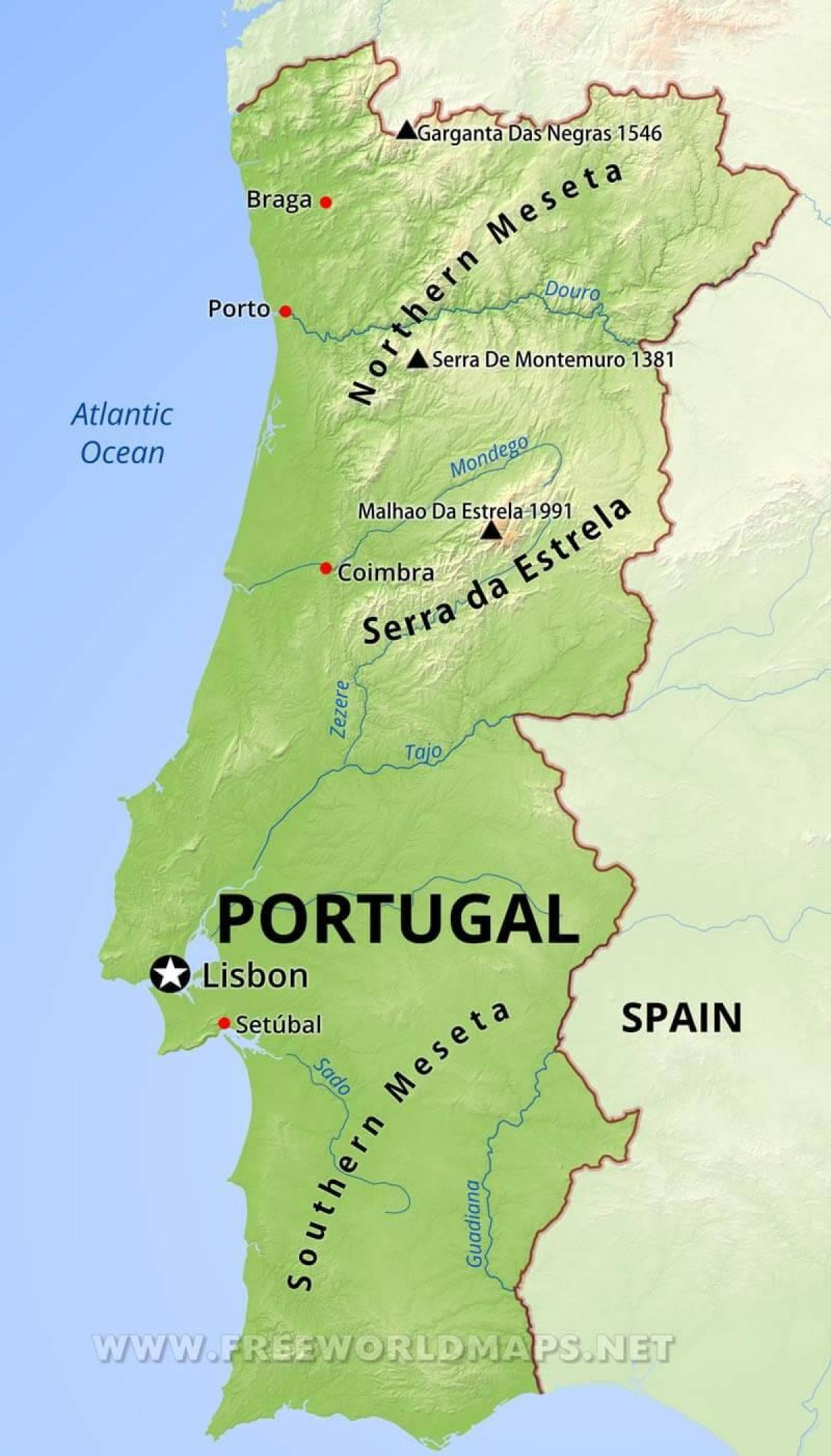 mapa montanhas portugal Portugal montanhas mapa   Montes, em Portugal, mapa (Sul da Europa  mapa montanhas portugal