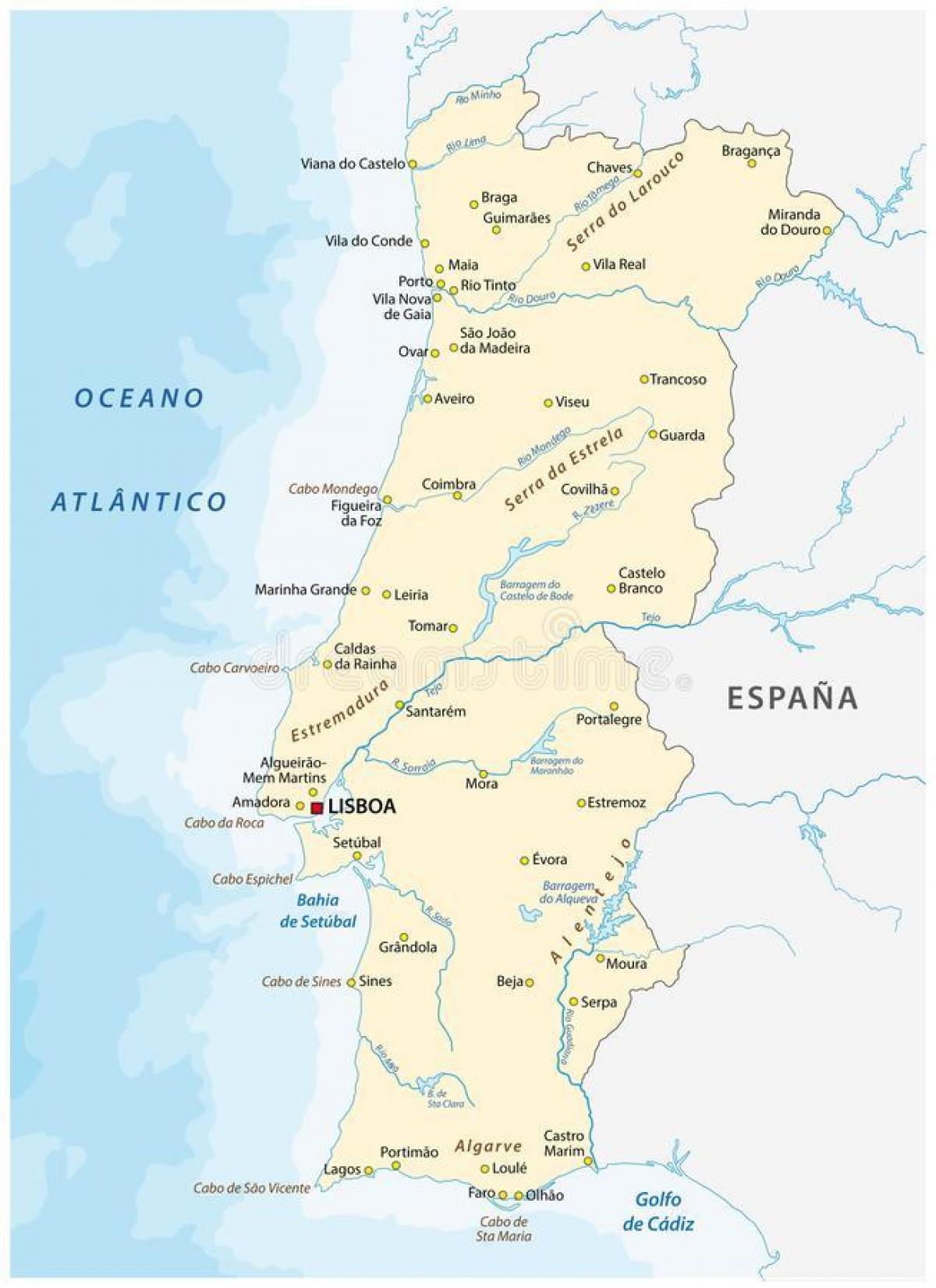 mapa de portugal rios Portugal rios mapa   Portugal rio de mapa (Sul da Europa   Europa) mapa de portugal rios